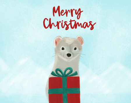 Christmas greeting hand painted card with ermine and red gift on landscape of blue mountains for print and web