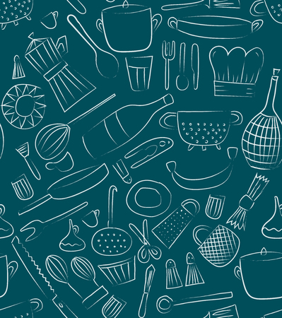 Hand drawn kitchen elements. Set for menu decoration. Cartoon. Simple stylized forms. Vector illustration.