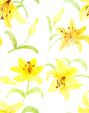 Hand painted with watercolor brush seamless pattern with yellow lily illustration isolated on white background