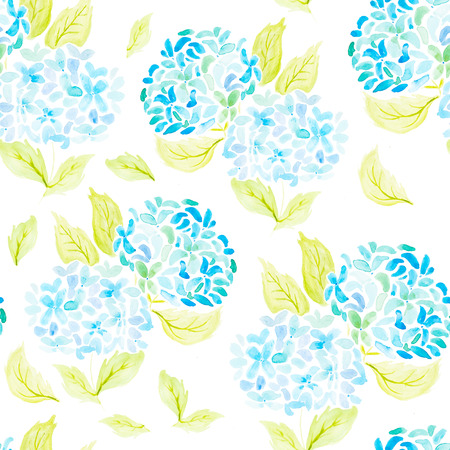 Hand painted with watercolor brush seamless pattern with blue and azure hydrangeas illustration isolated on white background Stock Photo