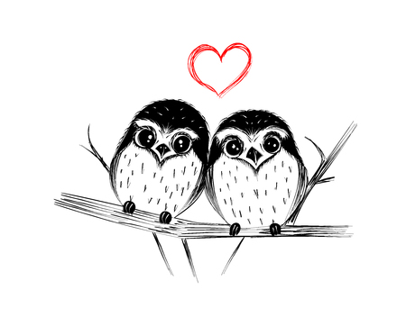 Happy Valentines Day. Cute couple of owls on branch isolated on white. Vector illustration.