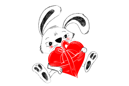 Cute rabbit with red heart for gift hand drawn in black and white for Happy Valentine greeting - Vector illustration isolated on white background Illustration