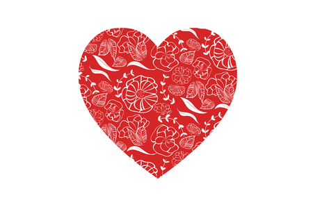 Red heart shape with floral pattern for love greeting card design for print and web - isolated on white background