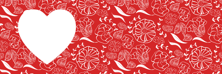 Red heart shape with floral pattern background for love, romance, wedding and marriage web banner design