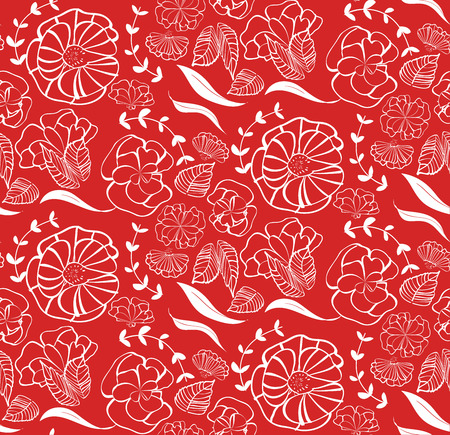 Vector seamless pattern with red roses, orange flowers and green leaves isolated on white background