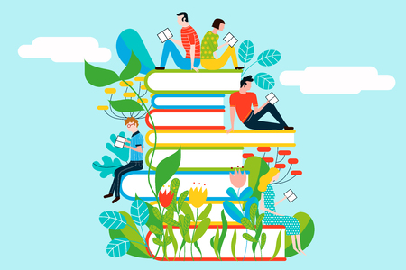 Happy people reading on tower of books - vector colorful illustration isolated on background Stock Vector - 95065041