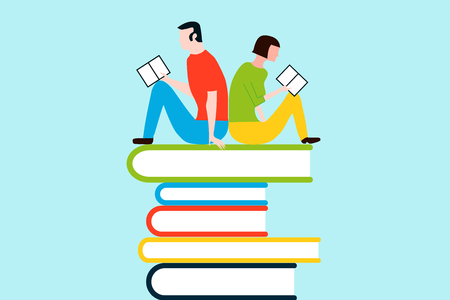 Happy people reading on tower of books - vector colorful illustration isolated on background Illustration