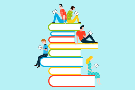 Happy people reading on tower of books - vector colorful illustration isolated on background Stock Vector - 95065043