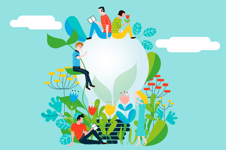 Happy people taking care of the environment and the earth loving the garden and nature - Vector conceptual illustration for ecology concept and ecological idea Illustration