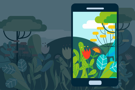 AR concept vector illustration with hi-tech glasses for augmented reality on natural landscape Ilustrace
