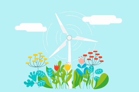 Electric wind mill in natural background with plants, flowers and leaves - Conceptual vector illustration for renewable energy