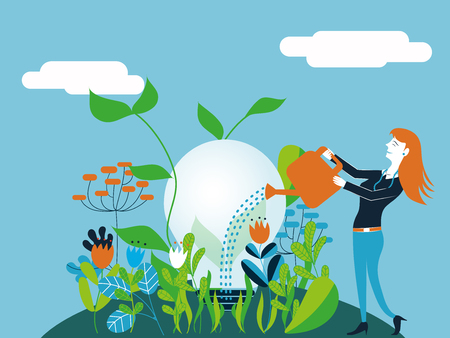 Business woman watering a light bulb - Vector illustration Ilustração