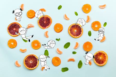 Healthy food fruits pattern with orange mandarin cloves, green mint leafs and orange slices isolated on azure blue background and fun kids children playing illustration Stock Photo