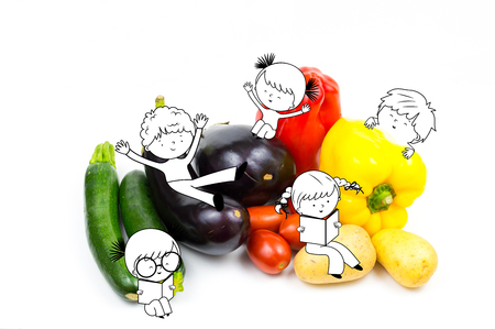 Happy fun kids and children playing on raw food vegetables isolated on white background with copyspace, aubergine, pepper, eggplant, tomato, potato and zucchini - Healthy food and nutrition for kids illustration Stock Photo