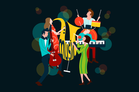 Series of music concert composition with men and women singing and playing sax, electric guitar, piano and drum - Colorful vector illustration isolated on blue background Illustration