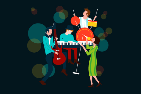 Series of music concert composition with men and women singing and playing electric guitar, piano and drum - Colorful vector illustration isolated on blue background Stock Vector - 96314992