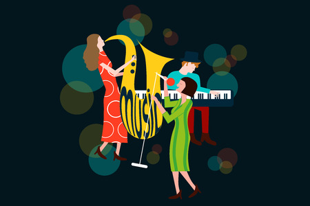 Series of music jazz, blues concert composition with men and women singing and playing sax and piano - Colorful vector illustration isolated on blue background Illustration