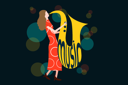 Series of music concert composition with woman playing sax in night lights - Colorful vector illustration isolated on blue background Ilustrace
