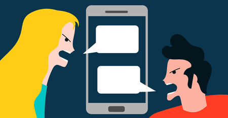 Conceptual vector illustration with angry woman and boy quarreling by smartphone technology conversation mobile