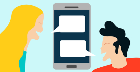 Conceptual vector illustration with woman talking on mobile phone Ilustrace