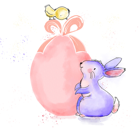 Happy Easter watercolor and ink vintage illustration with cute bunny and chick for greeting on print card and web banner