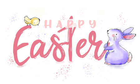Happy Easter watercolor and ink vintage illustration with cute bunny and chick for greeting on print card and web banner Stock Illustration - 98019147