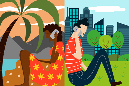 Vector illustration for concept of modern communication. Two friends talking via smart phone from different locations in the world.
