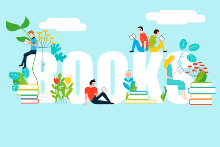 Happy people reading on books text - vector colorful illustration isolated on background Stock Vector - 97793005