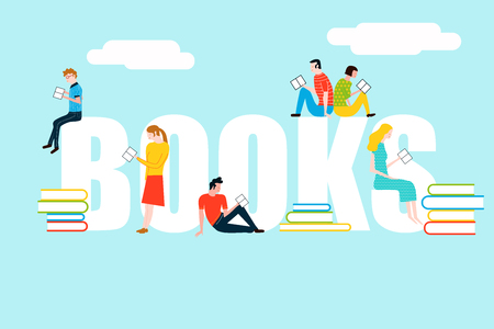 Happy people reading on books text - vector colorful illustration isolated on background Stock Vector - 97792606