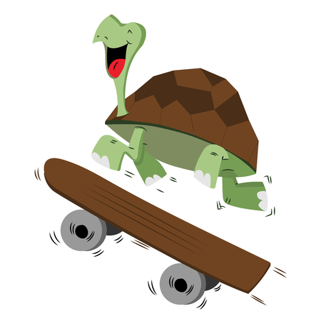 Happy smiling turtle running with a skateboard for speed concept - Vector illustration isolated on white background Stock Illustratie