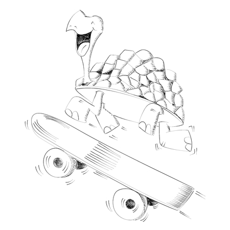 Happy smiling turtle running with a skateboard for speed concept - Vector illustration isolated on white background Illustration