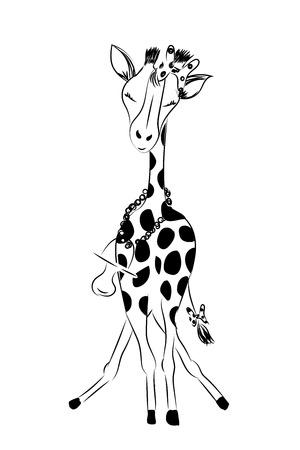 Hand drawn monochrome vector illustration isolated on white background giraffe baby girl celebrating new birth isolated on white background.
