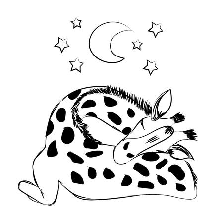 Lindo bebé jirafa durmiendo. Ilustración de vector