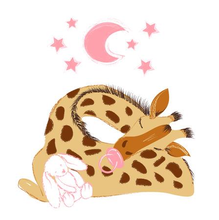 Giraffa sveglia del bambino con un ciuccio e un neonato isolato su priorità bassa bianca per neonati e bambini.