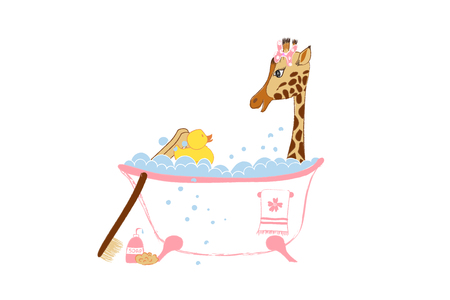 Baby girl arrival announcement card with cute little giraffe in bath vector illustration isolated on white background. Illustration