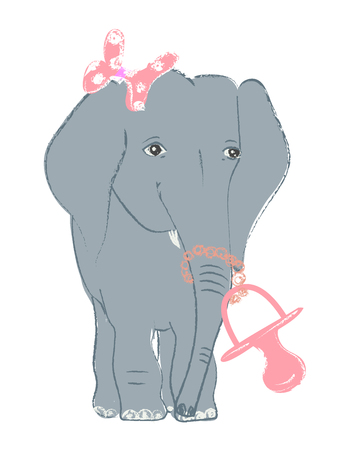 Hand drawn vector illustration with a cute baby elephant celebrating new birth - isolated on white background Stock Vector - 101795820