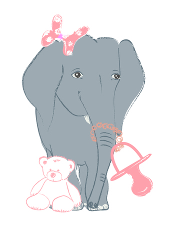 Hand drawn vector illustration with a cute baby elephant celebrating new birth - isolated on white background