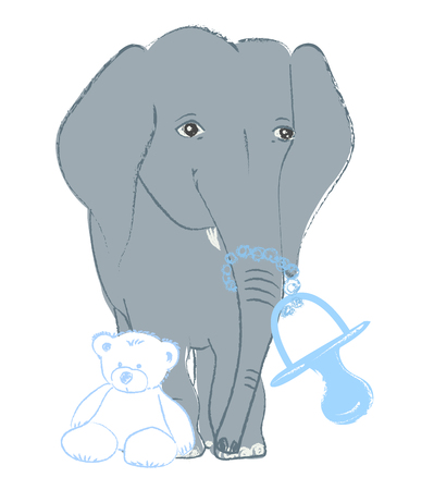Hand drawn vector illustration with a cute baby elephant celebrating new birth - isolated on white background Stock Vector - 101795822