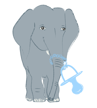 Hand drawn vector illustration with a cute baby elephant celebrating new birth - isolated on white background Stock Vector - 101806133