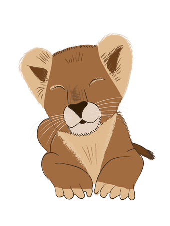 Hand drawn vector illustration of a baby lion isolated on white background Stock Vector - 101806135