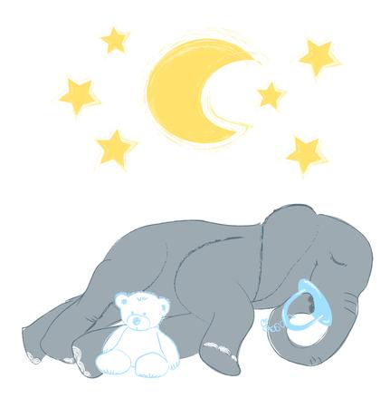Ilustración de vector dibujado a mano con un lindo bebé elefante durmiendo celebrando el nuevo nacimiento - aislado sobre fondo blanco