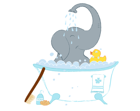 Hand drawn vector illustration with a cute baby elephant in bath shower celebrating new birth - isolated on white background Stock Vector - 102830193