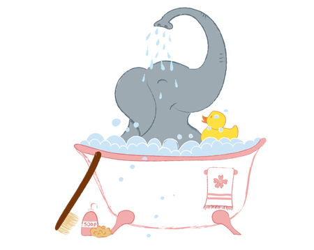 Hand drawn vector illustration with a cute baby elephant celebrating new birth - isolated on white background Stock Vector - 102698796