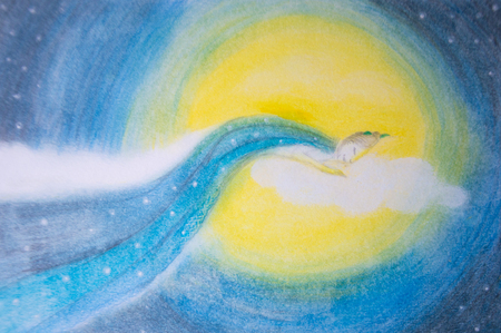 Woman sleeping and dreaming on moon and cloud - Hand painted illustration Reklamní fotografie