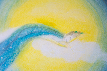 Woman sleeping and dreaming on moon and cloud - Hand painted illustration Stock Photo