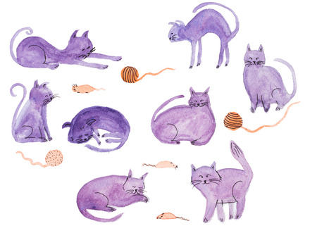 Watercolor hand painted purple cats and mouses isolated on white background