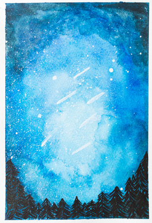 Watercolor hand painted blue night sky with falling stars and tree for print and quote background Stock Photo - 105824486