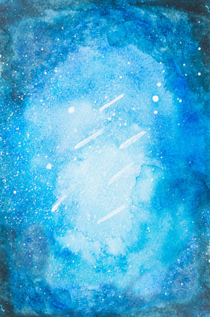 Watercolor hand painted blue night sky with falling stars and tree for print and quote background