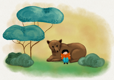 A boy reading with cute bear in green woodland and imagining fantastic story and dream - Digital painting illustration for concept to love books Stock Illustration - 105824483