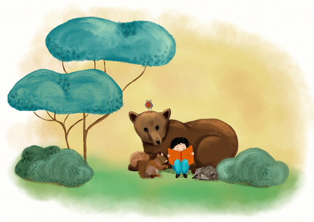 A boy reading with cute bear in green woodland and imagining fantastic story and dream - Digital painting illustration for concept to love books Stock Illustration - 105824487